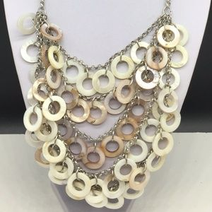 Chico's Mother Of Pearl Shell Circle Bib Necklace